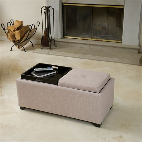 fabric ottoman with tray ernest beige fabric tray ottoman contemporary living