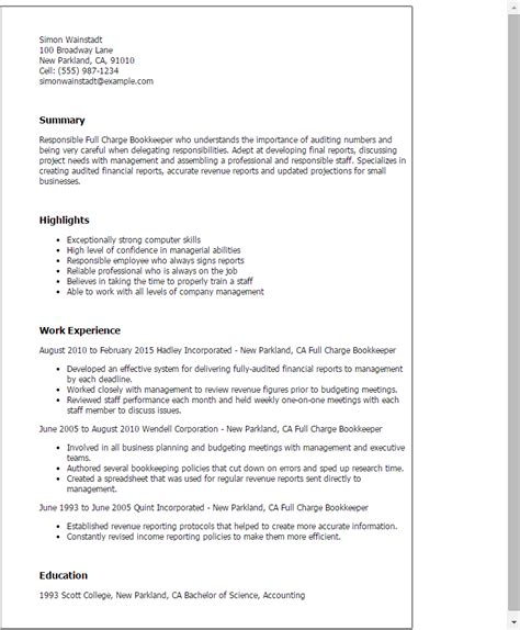Charge Bookkeeper Resume Sle professional charge bookkeeper templates to showcase your talent myperfectresume