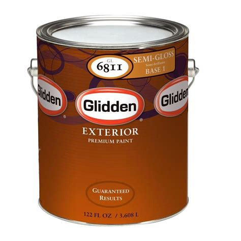 glidden premium 1 gal semi gloss exterior paint gl6813 01 the home depot