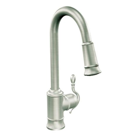 Pulldown Kitchen Faucet by Shop Moen Woodmere Classic Stainless Pull Down Kitchen