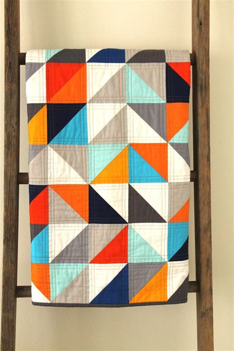 modern geometric quilt by craftyblossom great colors