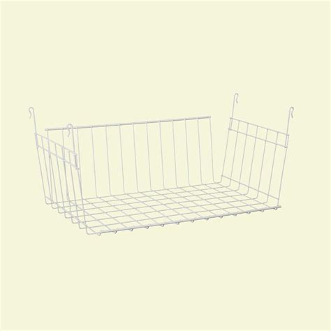 How To Hang Closetmaid Wire Shelving closetmaid 9 3 4 in d x 7 7 8 in h x 17 in l hanging basket for wire shelving 6222 the home