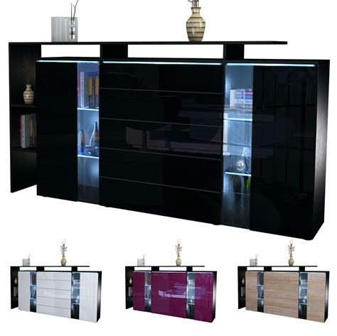 Modern Buffet Sideboard Cabinet modern highboard sideboard buffet cabinet dresser lissabon black high gloss ebay