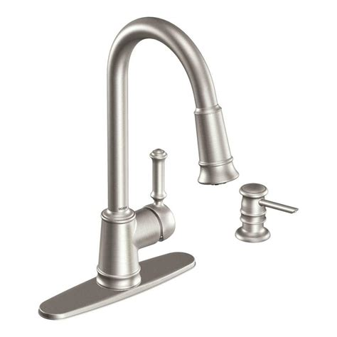 pulldown kitchen faucets moen lindley single handle pull sprayer kitchen faucet with reflex and soap dispenser in