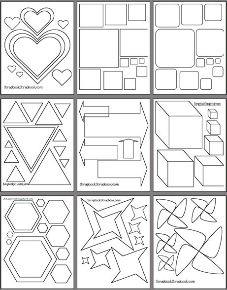 free scrapbook templates to print printable shape templates free coloring pages on