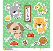 Set Of Cute Baby Animals Stickers On Seamless Pattern Background In