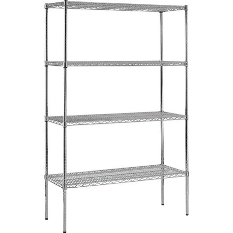 edsal 4 shelf chrome wire shelving unit 48in w x 18in d