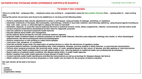 Experience Letter Doctor Critical Care Intensivist Physician Work Experience Certificates