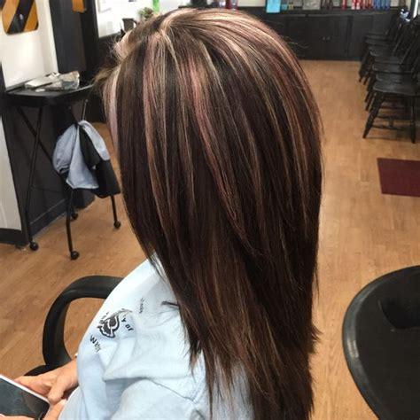 brunette with highlights lowlights gallery multi dimensional color beige and light violet highlights