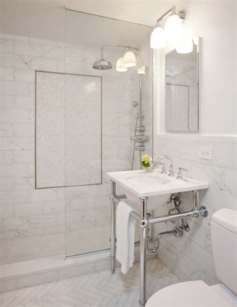 all marble bathroom white marble herringbone tiles transitional bathroom