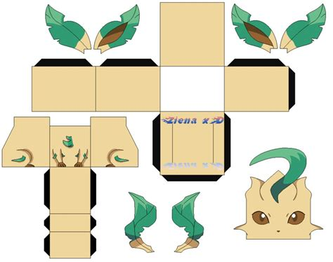 Leafeon Papercraft - rifia leafeon v2 color by zienaxd on deviantart