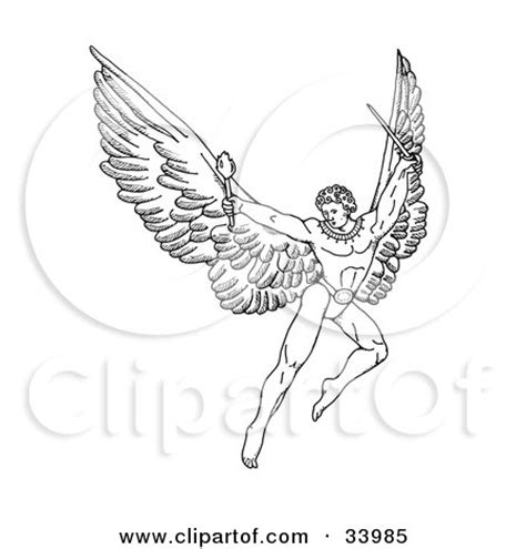 flying with a large pen and ink drawing of a warrior with large wings flying with a torch and