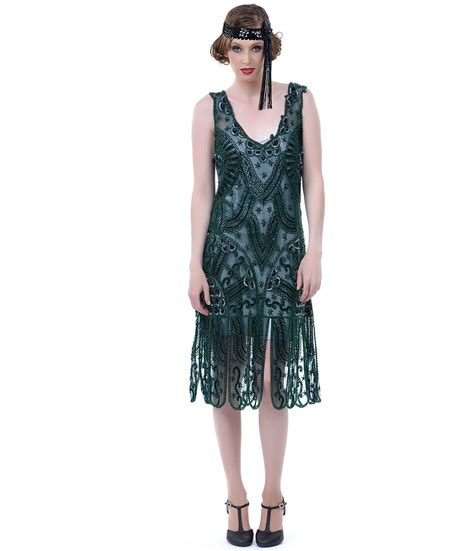 flapper dresses 20s vintage inspired unique vintage 1920s style emerald green beaded drop from unique vintage