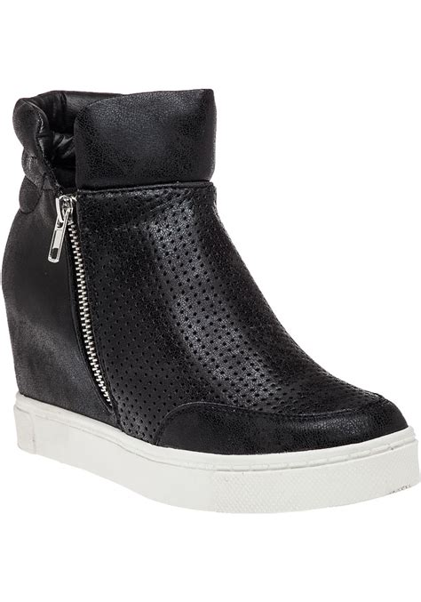 black sneaker wedge steve madden linqsp black high top wedge sneaker in black