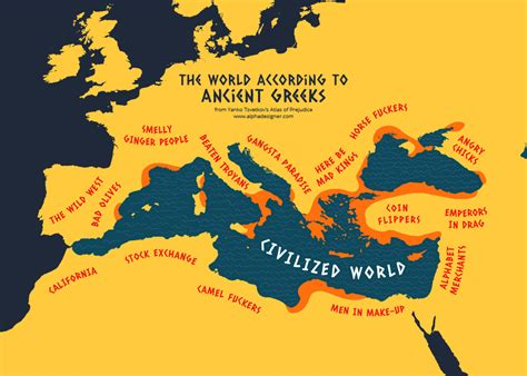 map world according to world according to ancient greece print alphadesigner