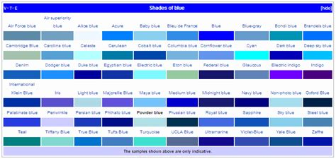 shades of list about 50 blue things 50 blue things