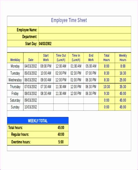 employee timecard template daily weekly monthly and yearly