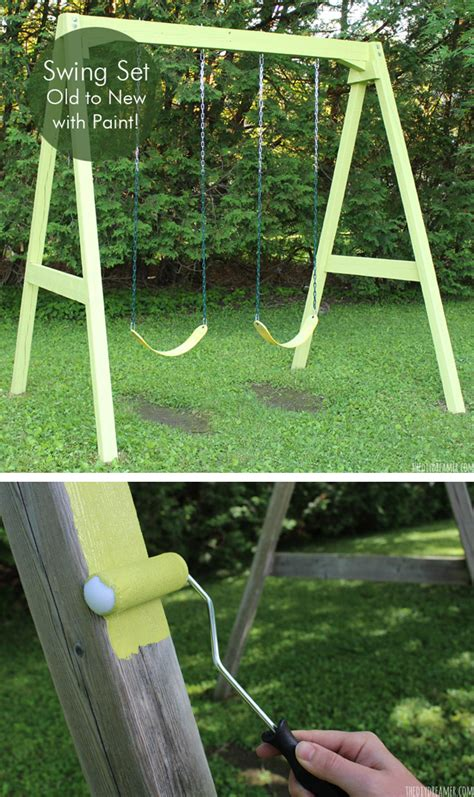 new swing set swing set old to new with paint