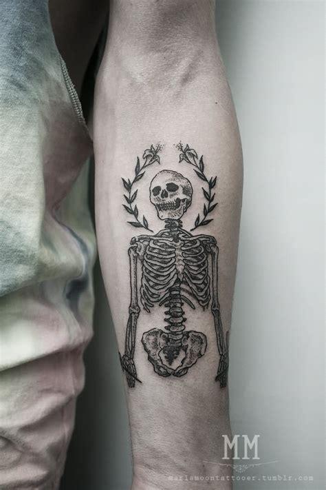 tattoo 3d bone black and grey 3d human skeleton tattoo on forearm by aisha