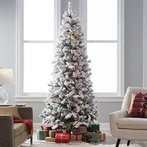 Pre Decorated Christmas Trees Walmart 7 5 Ft Slim Pre Lit Flocked Christmas Tree Christmasshack
