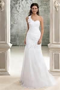 One Shoulder Wedding Dresses Elegant A Line One Shoulder Lace Up Chapel Train Pleats Beach Wedding Dress Ndir Fashion