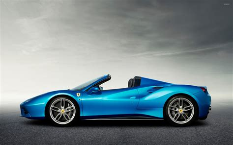 blue ferrari wallpaper blue ferrari 488 spider side view wallpaper car