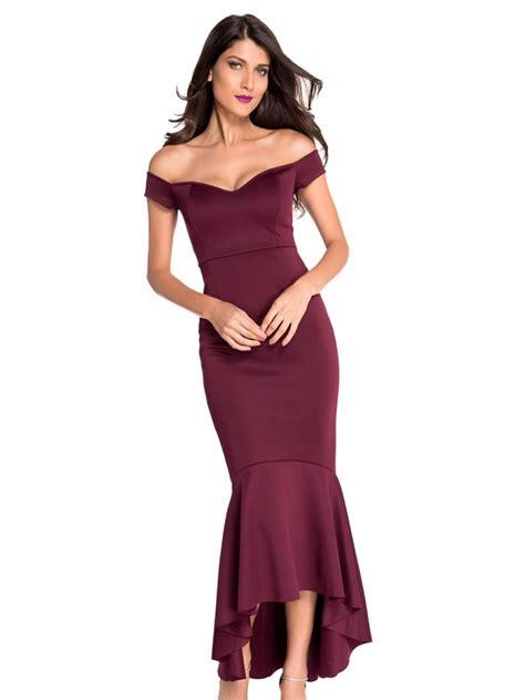 maroon shoulder mermaid jersey evening dress e60171