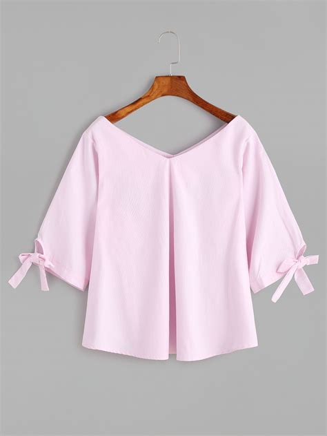 Tie Neck V Neck Sleeve Blouse v neck tie sleeve detail blouse blouse