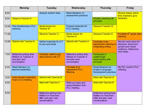 teaching timetable template excel weekly schedule