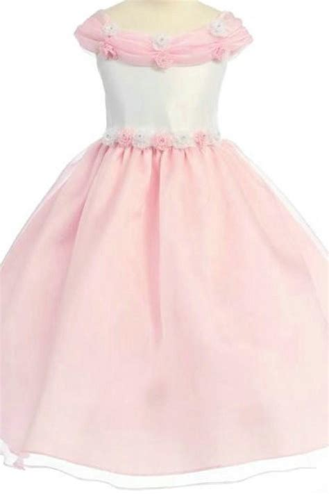design flower girl dresses organza off shoulder ball gown unique neckline perfect