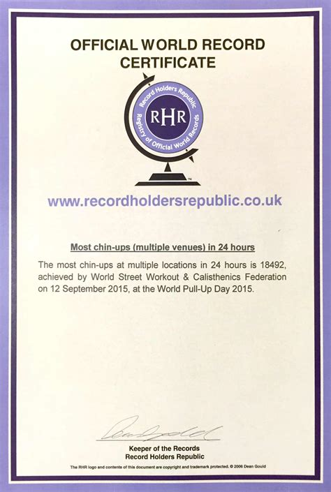 Are Certificates Record World Pull Up Day World Record Certificates