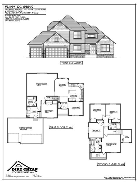 inexpensive two story house plans dc 05002 modified two story full basement blueprint