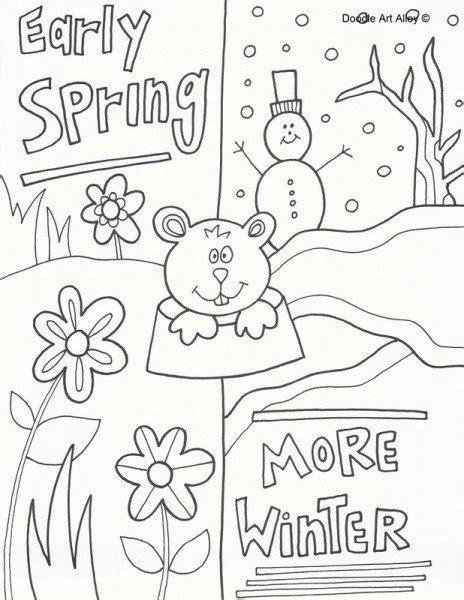 Printable Groundhog Day Coloring Sheets