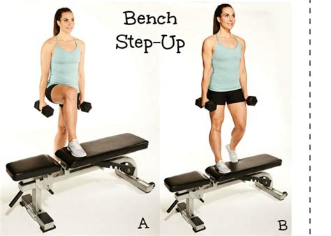 bench step ups with dumbbells strong is the new skinny strength training workout