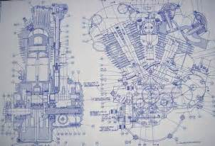 blue print drawing knucklehead harley engine drawing blueprint bikes mm