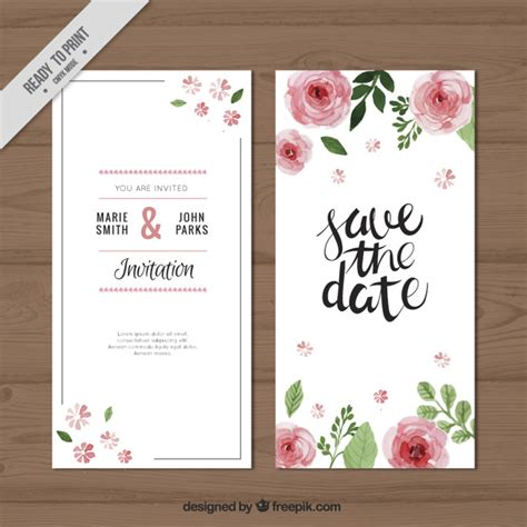 Wedding Invitation Freepik by Watercolor Roses Wedding Invitation Vector Free