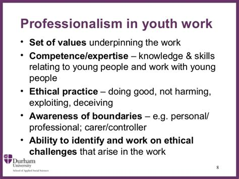 banks ethics professionalism and youth work
