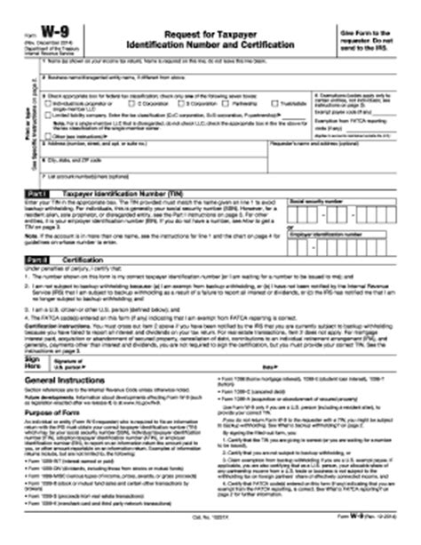 ... , 2014-2016 Form IRS W-9 Fill Online, Printable, Fillable, Blank W 9 Form Fillable Printable 2016