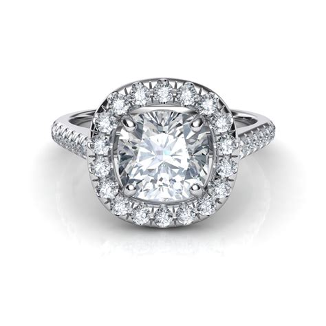 cusion diamond floating halo cushion cut diamond engagement ring
