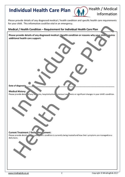 individual health care plan template health care plans mindingkids