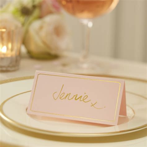 where to place foils pink gold foil place cards pastel perfection ginger ray