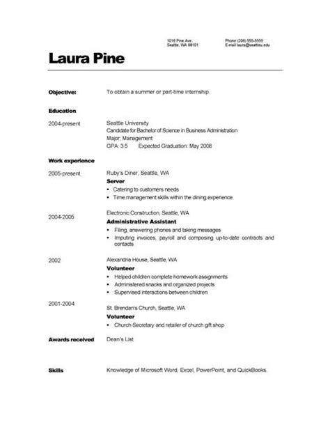 simple resume format sample for job resume examples