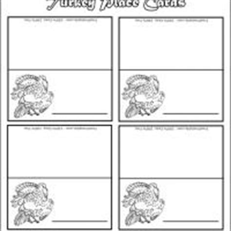 printable thanksgiving place cards to color black and white turkey place cards