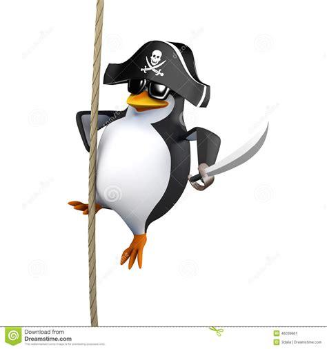 penguin swing 3d pirate penguin swings on a rope stock illustration