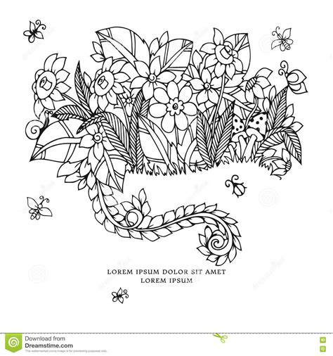cats coloring book grayscale stress relief calming and relaxing coloring book portable books vector illustration zentangl card with flowers doodle