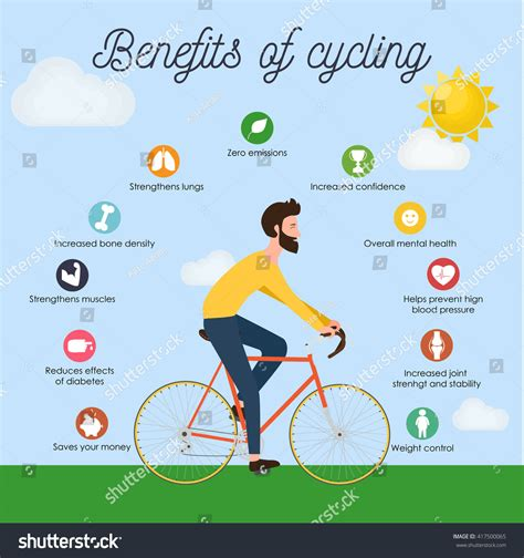 8 Benefits Of A Bike by Bike Infographics Benefits Cycling Stock Vector
