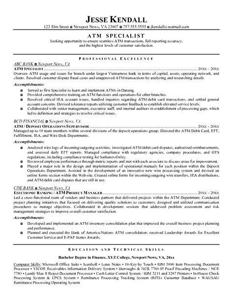 Teller Resume by Teller Resume Exle Free Sles Exles