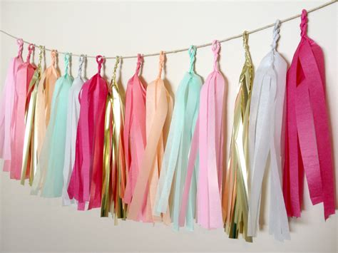 How To Make A Tissue Paper Tassel Garland - blushing pastels tissue paper tassel garland by thepaperjar