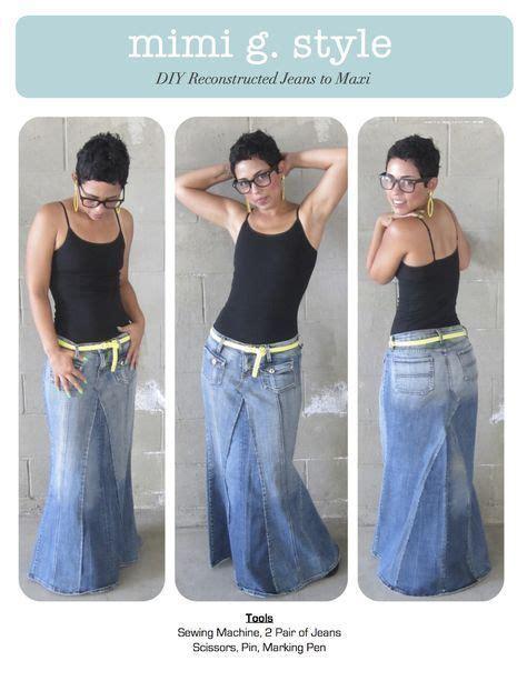 Rok Denim Maxi Skirt Dominggo Rok rock aus jeanshose