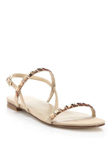 stuart weitzman trailmix jeweled suede flat sandals lyst